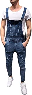HaiDean Dungarees Mens Denim Pants Modern Look Casual Jeans Used Destroyed Jumpsuit Men Vintage Denim Overalls Work Overal...