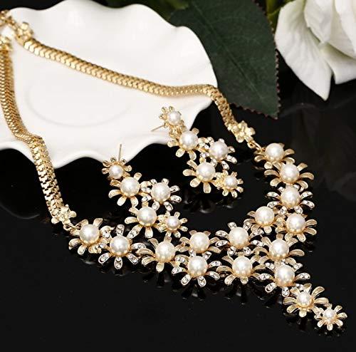 Set Di Gioielli Gioielli Collana Di Donne Collana Orecchini Orecchini Di Perle Imitazione Fiore Set Di Gioielli Da Sposa Oro