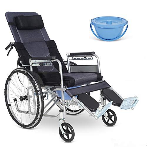 FLHLH Silla con Inodoro Reclinable con Respaldo Alto, Silla De Ruedas con Elevador Manual con Respaldo Ajustable, Inodoro Portátil Adecuado para Ancianos Discapacitados