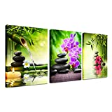 Zen Decor Canvas Wall Art - 3 Panel Green Bamboo Picture Framed Painting for Living Room Bedroom Kitchen Home Office Stones and Orchid Spa Poster Ready to Hang Canvas Print Still Life Modern Artwork
