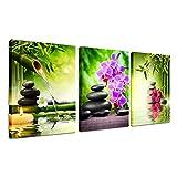 Zen Decor - Lienzo decorativo para pared, 3 paneles de bambú verde, pintura enmarcada para salón, dormitorio, cocina, hogar, oficina, piedras y orquídeas spa póster listo para colgar