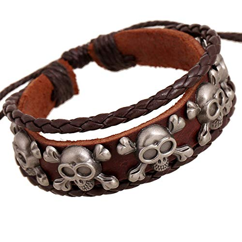 DDSCB Pulsera Hombre Cuero,Mens Leather Bracelet,Vintage Viking Skull Brown Leather Bracelets with Adjustable Punk Multilayer Bangle Cuff Wrap Wristband For Women Husband Teens