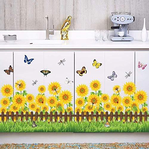 Muursticker,Plint Taille Lijn Hek Weide Gele Zonnebloem Vlinder Sticker Tuin Woonkamer Slaapkamer Decoratie Decals