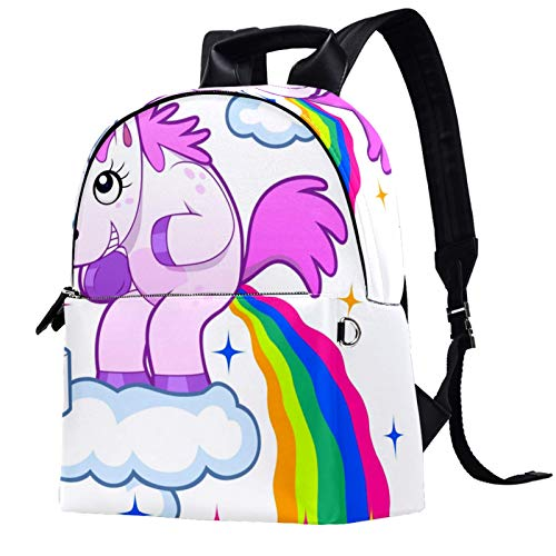 Travel,Hiking Backpack Laptop Backpack, Smiling Unicorn Pooping a Rainbow on The Sky Print Casual Large Capacity School Bag for Men Women for Work Office College Business Travel