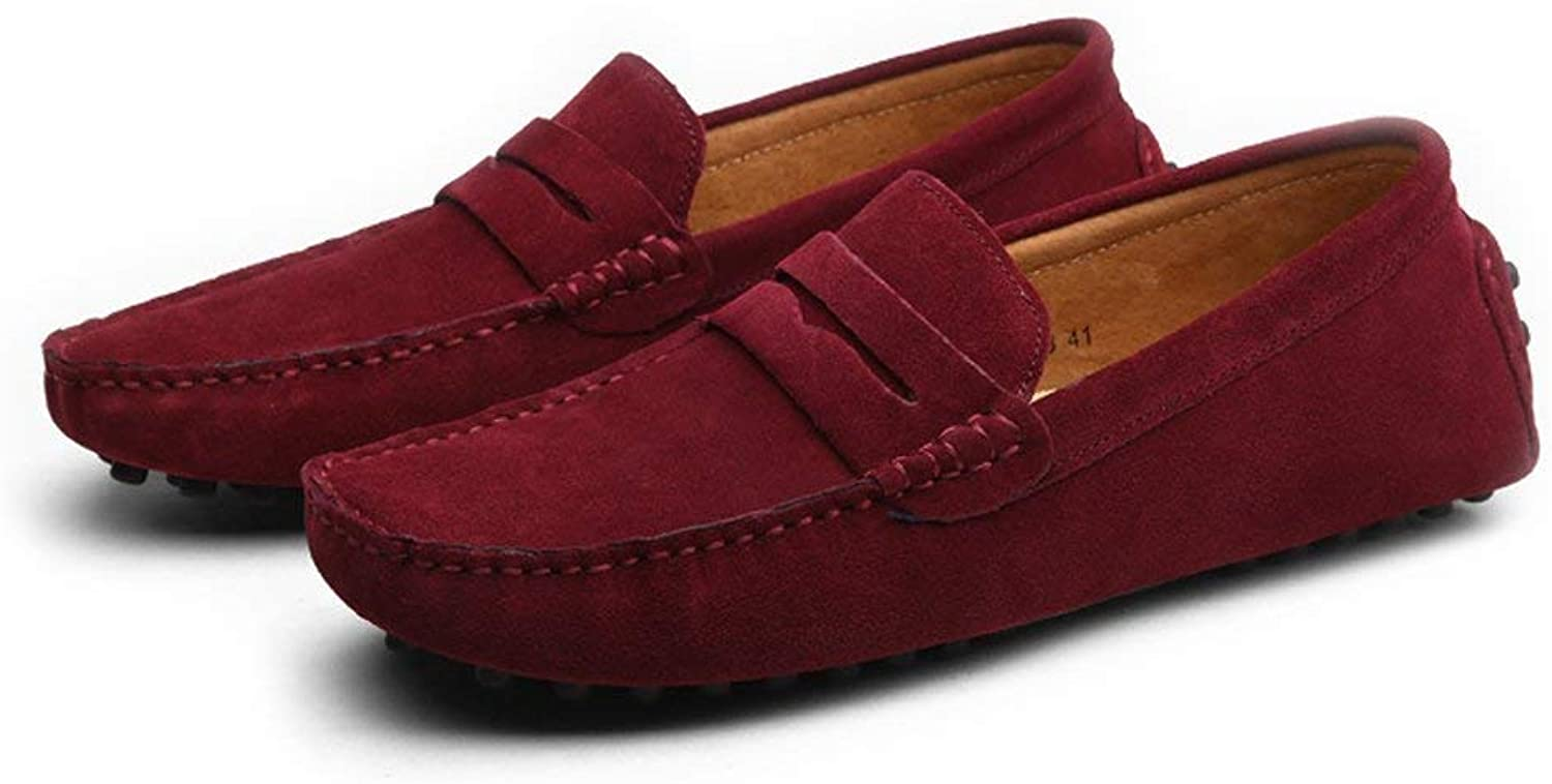 FuweiEncore Men's Moccasins shoes, Men's Driving Penny Minimalism Loafer Suede Genuine Leather Casual Moccasins Slip-on Boat shoes up to size 49 EU (color   As shown, Size   One size)