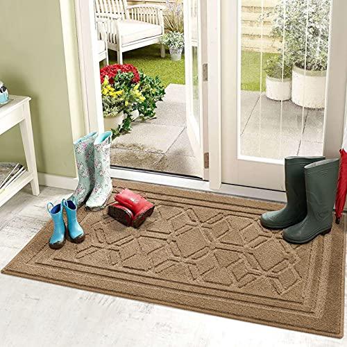 Color&Geometry Felpudo Entrada Casa 50 x 80 cm Alfombra para Puertal Felpudos Atrapar Suciedad Interior y Exterior Alfombras Lavable Absorbente Caqui