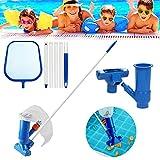Akoemxeeo - Kit di manutenzione portatile per piscina, 1 metro, set di 3 pezzi per la pulizia della fontana, per piscina, stagno, foglie, sporco e sabbia