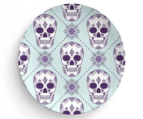 """Purple Sugar Skulls, Melamine Plate, Skull Plate, Melamine Plate, decorative plate, Dinner Plate, 10"""" plate, Sugar skull design, Skull home decor"""