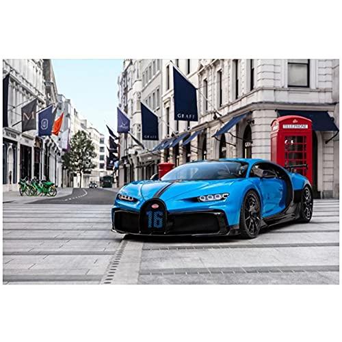 Carteles e impresiones de autos deportivos azules clásicos pinturas en lienzo cuadros artísticos de pared para decoración de sala de estar -60x90cm sin marco