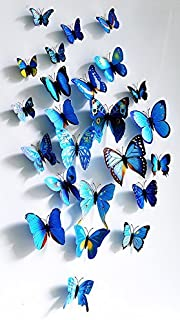 Amaonm 60 Pcs 5 Packages Beautiful 3D Butterfly Wall Decals Removable DIY Home Decorations Art Decor Wall Stickers & Murals for Babys Bedroom Tv Background Living Room (Blue)