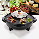 2 in 1 Electric Grilled Shabu Pot Smokeless Grill and Hot Pot 1700W BBQ Pot Shabu with Independent Temperature Control for 2-8 People Family Party