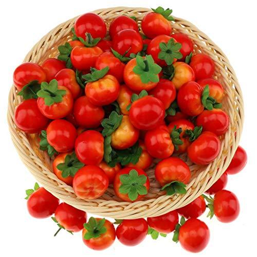 Gresorth 40 Stück Künstliche Lebensechte Mini Tomate Deko Gefälschte Gemüse Party Festival Dekoration