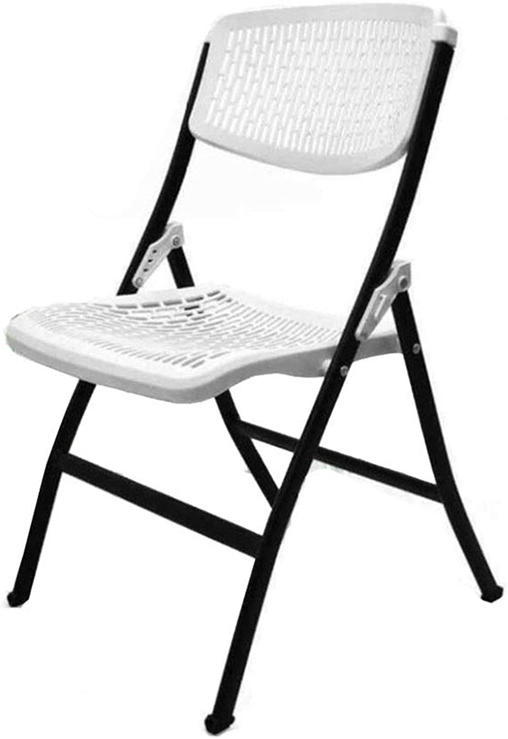 LGQ-LIFE Multifunctional Plastic Folding Chair, Suitable for Home Office Conference Chair Computer Portable Training Chair Folding Stool (color   White)