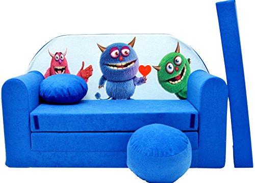 Minisofa Kindersofa Kindercouch Schlafsofa Sofabett Mini Couch mit Kissen und Sitzkissen DUNKELBLAU MONSTERS