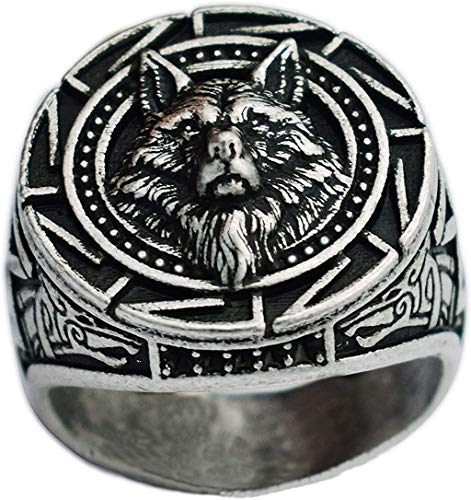 Slavic Wolf Head Ring Norse Celtic Domineering Personality King Rings Creative Simple Men's Vantage Jewelry (12)