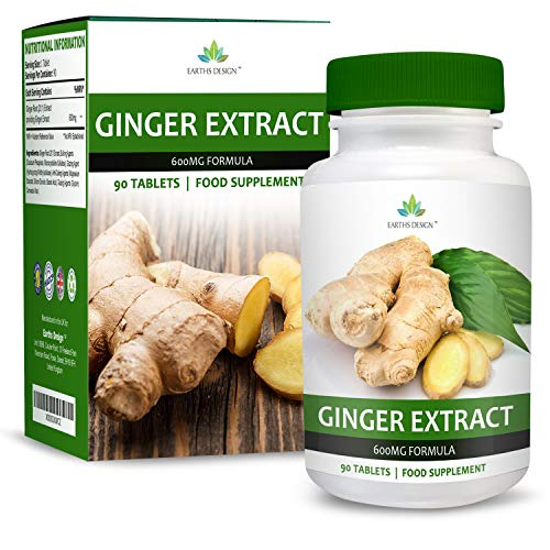 Ginger Root Extract 600mg - High Strength Supplement - 20:1 Extract - for Men and Women - Suitable for Vegetarians - 90 Tablets (3 Month Supply) by Earths Design