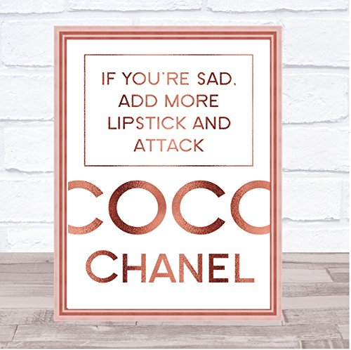 Rose Gold Coco Chanel triest toevoegen lippenstift citaat muur Art Print Framed White Small
