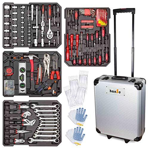 hanSe Werkzeugkoffer Maxi 1050-teilig Werkzeug Trolley gefüllt Werkzeugkasten Werkzeugkiste...