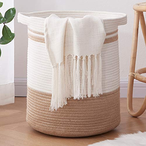 OIAHOMY Laundry Basket-Cotton Rope Basket Large Storage Basket with Handles,Modern Decorative Woven Basket for Living Room,Storage Baskets for Toys, Throws, Pillows,and Towels -18
