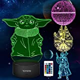 3D Illusion Star Wars Night Light Gift,4 Pattern LED Night Lamp for Room Decor,Great Christmas Birthday Gifts for Kids/Mens/Womens/Star Wars Fans