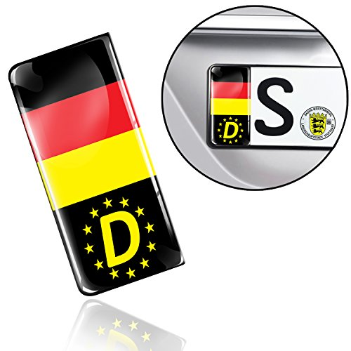 SkinoEu 2 x 3D Gel Silicone Badge Car Number Plate Self-adhesive Stickers Germany National Flag Decals QS 10