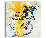 VTT DH 60x 60cm Décoration murale Sport image Aquarelle Art Couleurs de Paul Sinus