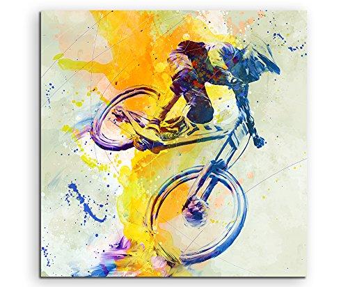 MTB DH 60x60cm Wandbild SPORTBILD Aquarell Art tolle Farben von Paul Sinus