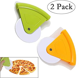 Neepanda Plastic Pizza Cutter Wheel Pizza Rocker Cutter Pizza Wheel Slicer Tools for Pizza, Pie, Bread, Vegetables Dishwasher Safety (2 Pack, Yellow & Green)