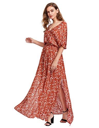 Milumia Women's Boho Split Tie-Waist Vintage Print Maxi Dress (Small, Orange-Red)