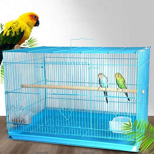LTLHXM Gabbia Rettangolare 2 Livelli per Uccellini, Completa di Accessori E Mangiatoie Girevoli, Robusto Metallo Verniciato Bianco E Fondo in Plastica Azzurro, 46 * 33 * 32 Cm,L