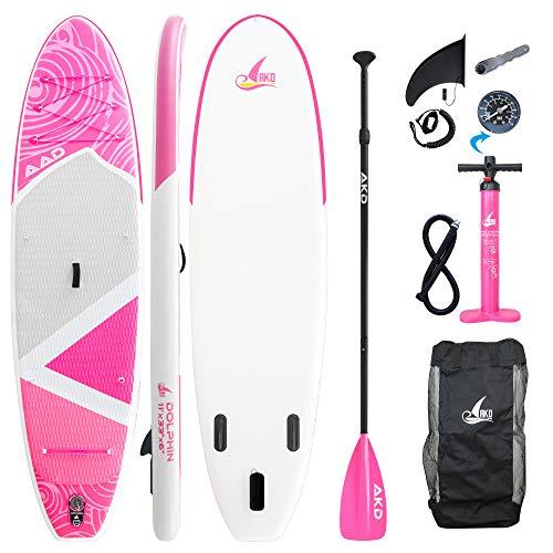 AKD Dolphin Tablas de Paddle Surf 11' 335x83x15cm Tablas Paddle 170KG / 346L, Bomba con ManÓMetro, Remo Deportivo Ajustable De Aluminio, Mochila Y Correa (Rosado)