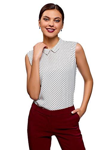 oodji Ultra Damen Ärmellose Bluse aus Fließendem Stoff, Weiß, DE 36 / EU 38 / S