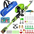 ODDSPRO Kids Fishing Pole, Portable Telescopic Fishing Rod and Reel Combo Kit - with Spincast Fishing Reel Tackle Box for Boys, Girls, Youth (Green, 1.2M 3.94Ft)