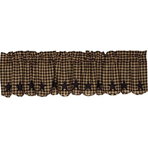 VHC Brands Black Star Scalloped Valance 16x72 Country Curtain, Raven Black and Tan