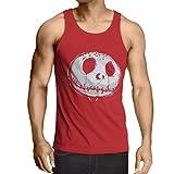 lepni.me Camisetas de Tirantes para Hombre cráneo asustadizo Cara - Pesadilla - Ropa de Fiesta de Halloween (Small Rojo Multicolor)