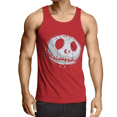 lepni.me Camisetas de Tirantes para Hombre cráneo asustadizo Cara - Pesadilla - Ropa de Fiesta de Halloween