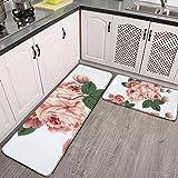 Juego de 2 alfombras de cocina, patrón de papel pintado sin costuras con rosas cómodas, alfombra de franela, alfombra de pasillo, antideslizante, lavable, alfombra de baño