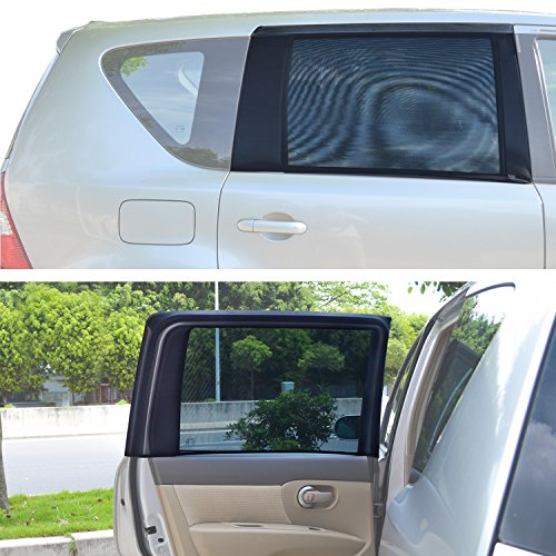 """TFY Universal Sonnenblenden für quadratische, hintere Autoseitenfenster - Für Autos mit Seitenfenstern von 29.5\'\' - 41.5\'\' Breite x 19\"""" Höhe (regelmäßig Fenster)"""
