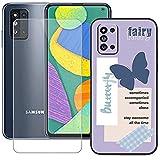 szjckj Funda para Samsung Galaxy F52 5G (6,6 Pulgadas) + Anti-caída Protector de Pantalla, Case Cover Carcasa Bumper Clear TPU Silicone Cristal Vidrio Templado - LLM46