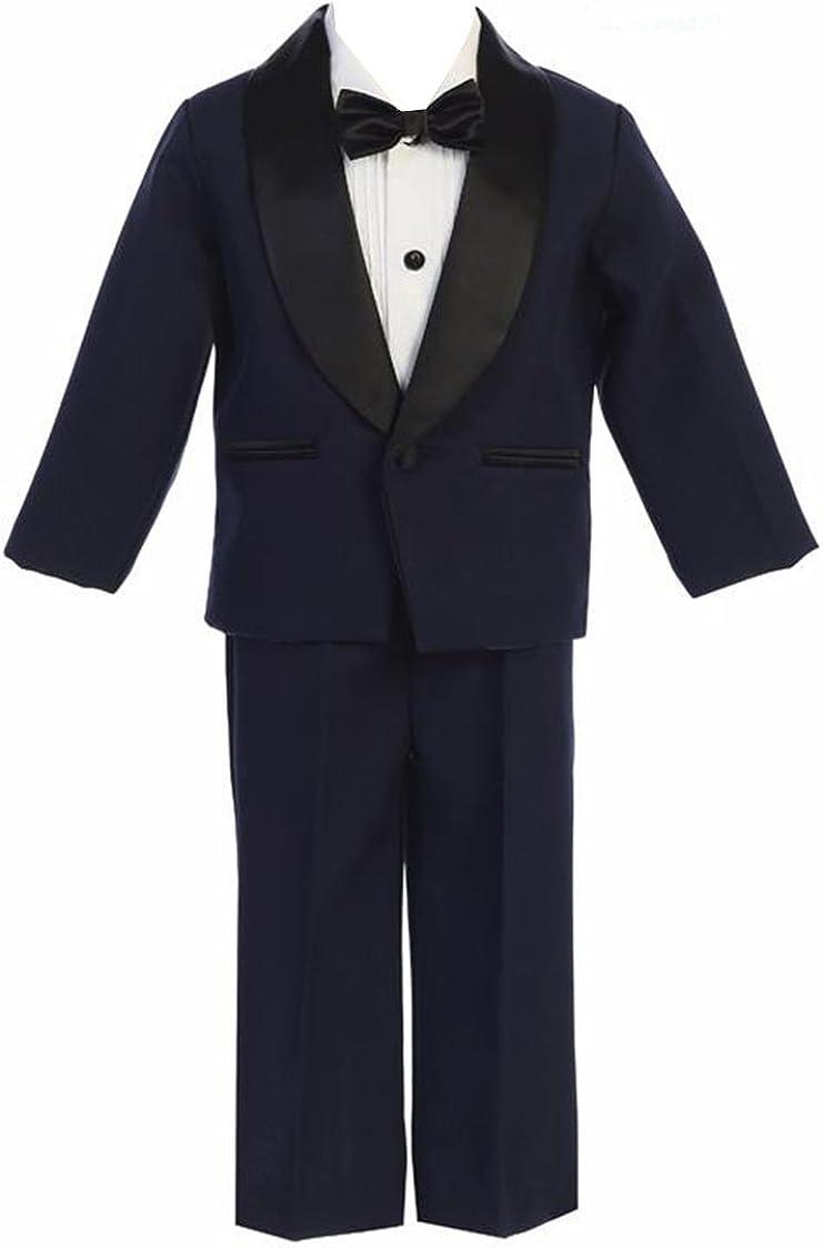 iGirlDress Baby/Toddle/Boys Ivory Black Navy Jacket Pants Shirt Bowtie Tuxedo Ring Bearer Suit
