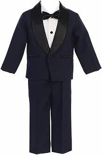 Baby/Toddle/Boys Ivory Black Navy Jacket Pants Shirt Bowtie Tuxedo Ring Bearer Suit