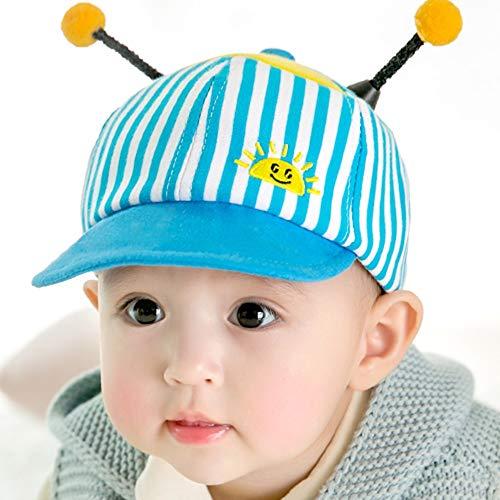 FUFU Sombrero para niños, cubierta de seguridad, resistente al viento, gorra de algodón, a prueba de polvo, adecuado para niños en 3 tamaños al aire libre (color: cubierta azul, tamaño: 2-6 meses)