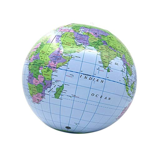 SuRose Mappamondo da Tavolo Mappamondo Globo terrestre Gonfiabile in PVC Pallone da Spiaggia Modello didattico Materiale didattico Globo Universale a Rotazione Globo Maglev (Colore: Blu, Dimensioni