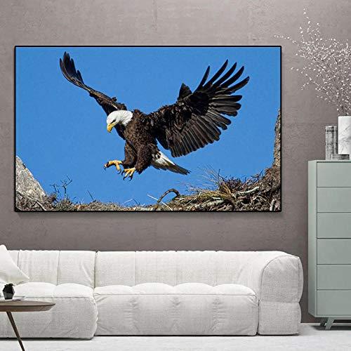 American Bald Eagle Animal- Pintura de diamante 5D DIY punto de cruz - Taladro completo con diamantes de imitación para decoración del hogar