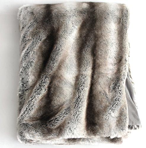 Übergroße Überwurfdecke aus Kunstfell, mit Plüschsamt auf der Rückseite, Fuchs Luchs oder grauem Nerz (grauer Chinchilla)