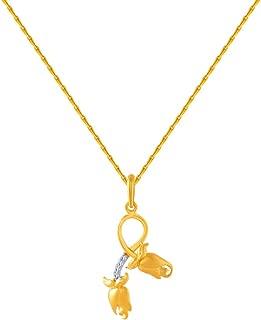 P.C. Chandra Jewellers 14k (585) Yellow Gold and American Diamond Pendant for Women