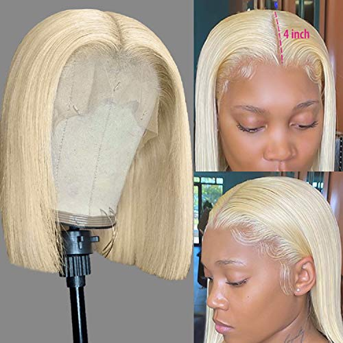 """Blonde Lace Front Wigs Straight Brazilian Virgin Human Hair 13x4x1 Bob Lace Frontal Wigs 10"""" for Black Women Colored 613 Bob Blunt Cut Wig Full Ends Pre Plucked with Elastic Bands Natural Hairline"""