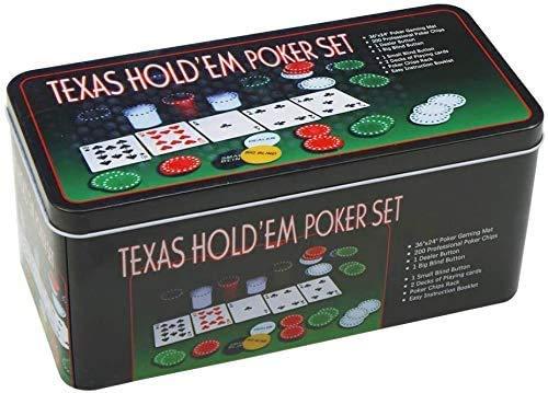LEYENDAS CROWN Poker-Set aus Metall, 200 Pokerchips, 2 Abdeckungen, Distanzknopf, kleine Blind, große Blinde, Spielmatte (B)