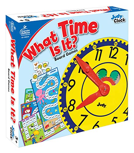 51WRQ8cAVYL - Carson Dellosa What Time Is It? Judy Clock Board Game Set—On The Farm, Time With Friends, Swim, Safari Time-Telling Board Games With Game Cards and Player Pieces, 2-4 Players, Ages 5+