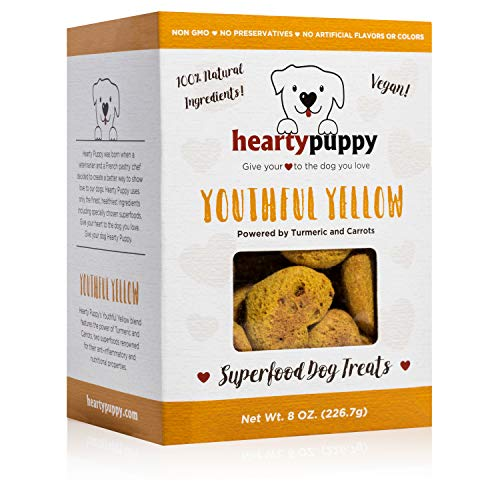 HEARTY PUPPY Vegan Superfood Dog Treats, 100% Natural Human Grade Ingredients, Non GMO, No Artificial Flavors, Colors or Preservatives (Youthful Yellow Carrots and Turmeric)